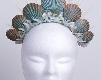 mermaid crown tiara headdress turquoise
