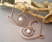 Wire Wrapped Heart Copper Earrings  - wire wrapped jewelry handmade - wire wrapped Earrings handmade