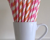 Pink and Orange Striped Paper Straws Party Supplies Party Decor Bar Cart Accessories Cake Pop Sticks Mason Jar Straws