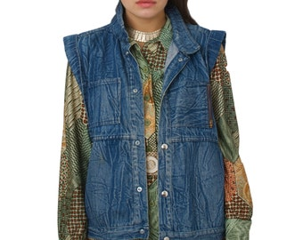 80s 90s Acid Washed Denim Vest Jacket
