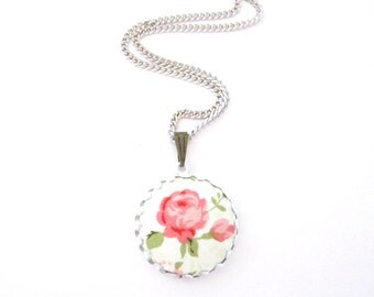 Rose Flower Necklace/ Flower Necklace/ Pink Necklace/ White Necklace/ Round Charm Necklace/ Kids Jewelry/ Girls Gift
