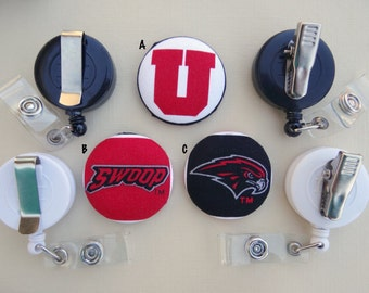 Retractable Badge Holder - Fabric Covered Button - University of Utah