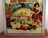Vintage Key West Cigar Art on Wooden Art Box in Two Sizes