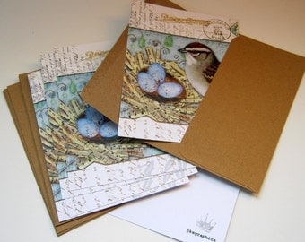 """Set of 6 Note Cards - """"Song Nest"""" collage"""