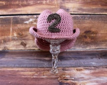 Cowgirl Hat with Removable Star / Number - knit cowboy hat crochet baby child toddler infant newborn pink dusty rose birthday Sheriff Callie