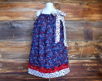 4th of July Dress Fourth of July 4th Newborn to Child 7/8 girls pillowcase baby toddler infant flag USA Australia red white blue navy summer