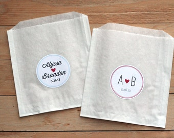 100 Custom Treat Bags / Favor Bags / Candy Bags / Paper Bags / Wedding Favor / Cookie Bags / Custom Wedding Sticker / Wedding Candy Bags