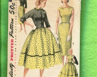 1950's Simplicity 1412 Bateau Neckline Bubble or Wiggle Dresses with Fitted Bolero Size 16