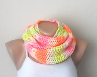 multıcolor knit infinity yellow scarf orange white pink  circle scarf winter scarf shawl
