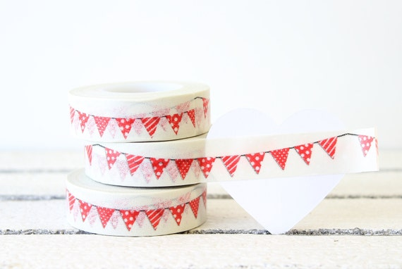 Red Bunting Washi Tape, Planner Washi Tape, Decorative Paper Tape, Planner Decoration, Planner Sticker, Valentine Craft Gift Wrap