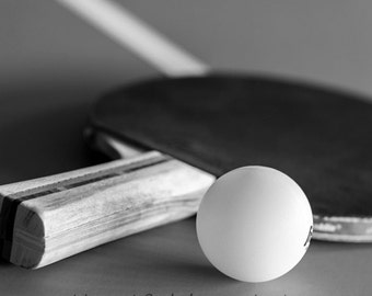 Game room decor, Sports art, Man cave wall art, ping pong picture, black and white print // Table Tennis