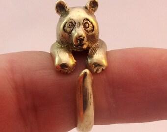 Brass Panda Ring, Animal Ring, Cute Ring, Adjustable Ring, Animal Jewelry size 4, size 5, size 6, size 7, size 8, size 9