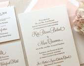 The Hydrangea Suite - Classic Letterpress Wedding Invitation Sample, Gold with Blush Liner, Pink, Blush, Gold, Formal, Simple, Traditional