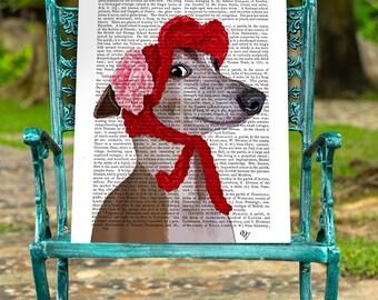 Greyhound Art Print - Red Hat dog poster dog decor dog illustration dog picture dog gift for dog lover dog Print dog art  greyhound print