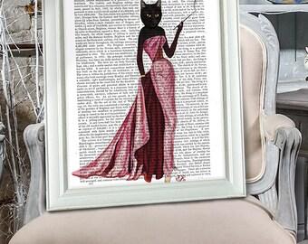 Glamour Cat Pink Glamour Puss black cat poster black cat decor cat illustration cat picture black cat gift cat lover black cat Print Hostess