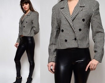 Vintage Houndstooth Wool Crop Jacket