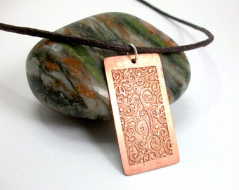 Spiral necklace, etched copper jewellery, hand drawn art