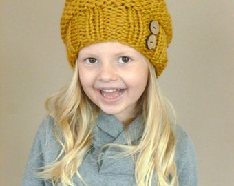 Knit Toddler Slouchy Beehive Hat Mustard Yellow or ANY COLOR Two Coconut Buttons Knit Toddler Hat Knit Slouch Toddler Beanie Knit Kids Hat