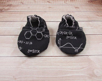 Science Math Baby Shoes, Black White Baby Booties, Trig Tula Accessories, Baby Moccasins, Crib Shoes, Baby Girl Baby Boy Shoes, Slippers