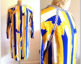 1970s Striped Silk Vintage Dress // medium, large 8 10 12 bold graphic floral blue yellow stripe shift seventies