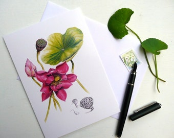 Pink Lotus Botanical Card featuring original botanical illustration by Australian artist, blank inside.  Ideal Mothers Day card!
