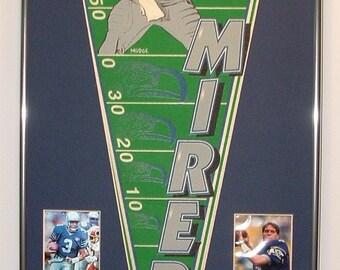 Seattle Seahawks Rick Mirer Pennant & Cards.....Custom Framed!