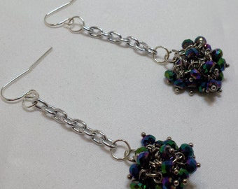 Bedazzled purple and green dangle earrings