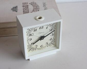 White Desk Clock, Armenian Alarm Clock, Soviet Union Home Decor, Office Decor Clock, Sevani