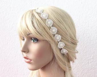 bridal tiara, ivory headband, wedding head piece, pearl and lace halo, brides accessories, gift for her, hair flowers