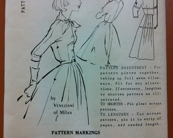Veneziani of Milan S-324 Fitted Day Dress Full Skirt Spadea Vintage Sewing Pattern 1950s 50s Size 18