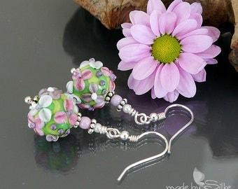 Handmade lampwork bead earrings  |  Sterling Silver |  made by Silke |  flowers chintz floral   |  OOAK