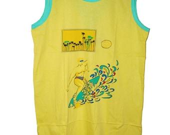 Vintage 90's Summer Yellow Maxi Dress size L