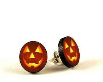 Jack O'Lantern Pumpkins - handmade stud earrings - decoupage