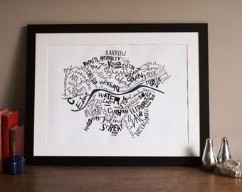 London Typographic Map Print