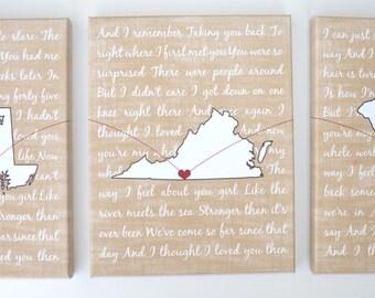 Wedding lyrics on canvas, wall art set of three maps wedding canvas gifts 2nd year wedding anniversary gift wedding gifts song second cotton