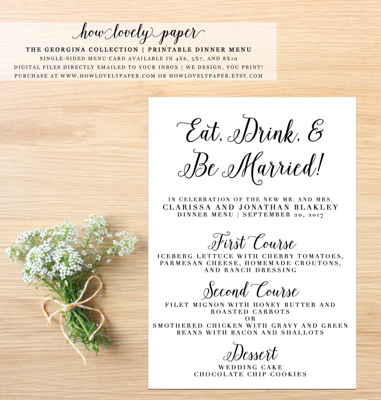 printable wedding dinner menu card the georgina collection. Black Bedroom Furniture Sets. Home Design Ideas