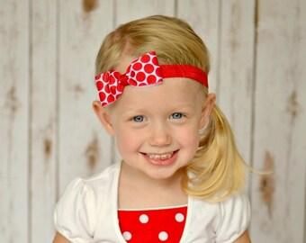 PolkaDot Headband, Red Headband, Polka Dot Headband, Red Bow Headband, Valentines Day Headband, Baby Headband, Newborn Headband, Photo Prop