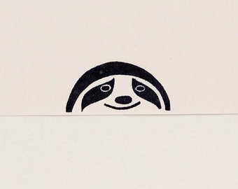 Smiling sloth stamp, sloth kids gift, funny coworker gift, best friend gift, sloth birthday gift, funny stationery, cute stationary
