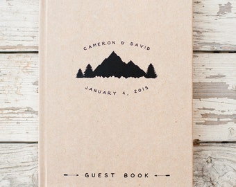 Mountain Wedding Guest Book Wedding Guestbook Custom Guest Book Personalized wedding book custom design rustic guest book wedding gift trees