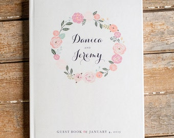 Floral Wedding Guest Book custom guestbook personalized wedding book sign in book rustic wedding Guestbook blush pink flowers wedding wreath