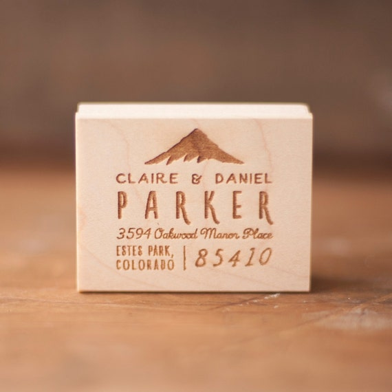 Mountain Address Stamp, Address Rubber Stamp, Custom return address rubber stamp, Rustic return address stamp, rubber stamp, wedding stamp