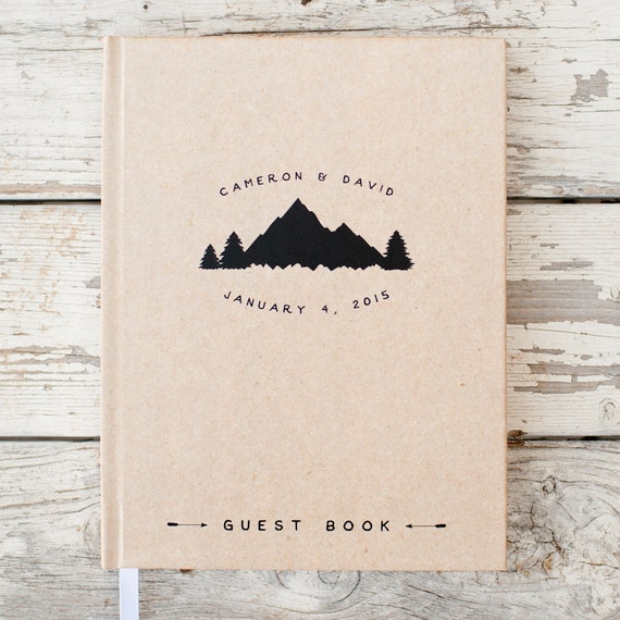 Wedding Guest Book Wedding Guestbook Custom Guest Book Personalized Customized custom design rustic guest book wedding gift mountain wedding