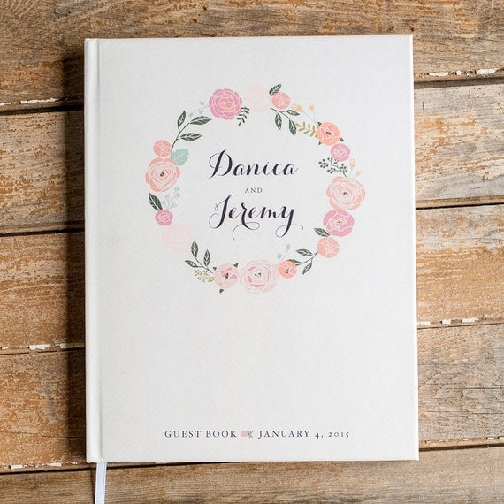 Floral Wedding Guest Book custom guestbook personalized wedding book sign in book rustic wedding Guestbook blush pink flowers baby guestbook