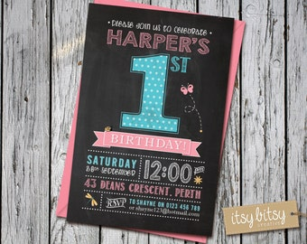 Chalkboard 1st Birthday Invitation, Garden Party Theme, Girls Polka Dot Birthday Party, Pink, Aqua 6x4 or 5x7