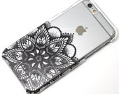 Black Lower Flower Henna Mandala Style Phone Case iPhone 6, SE, 6 Plus, 6S, 5, 5C, 5S, Galaxy S6, S7, Note 4, Note 5