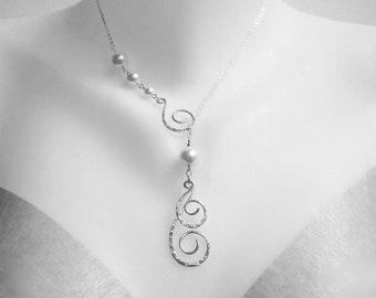 Silver Pearl Necklace Lariat Necklace Swirl Necklace Pearl Drop Necklace Filigree Necklace Hammered Silver Necklace Bridal Necklace