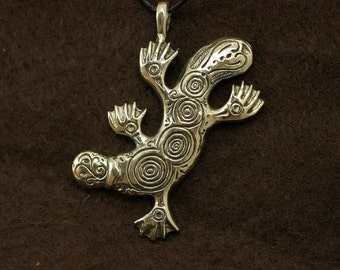 Platypus bronze pendant necklace