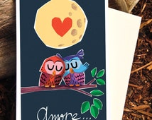 Owl Valentine Scratch n' Sniff Card, Amore Vanilla Scented Love Card, Romantic Card, Two Owls Card