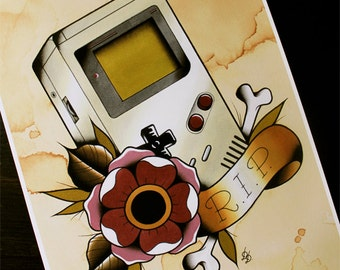 """Nintendo Game Boy Traditional Tattoo Flash Print 11""""x14""""  (Other sizes available)"""