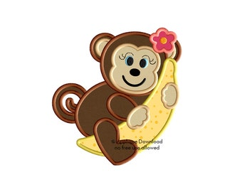 Monkey Girl and Banana - Cute Girl Monkey with Banana Applique - Instant EMAIL With Download - 3 sizes - for Embroidery Machines